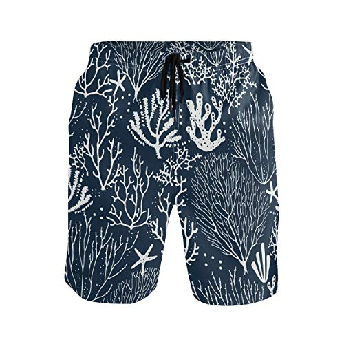 BONIPE Herren Badehose Coral Reef Seestern Muster Quick Dry Boardshorts mit Kordelzug und Taschen Gr. L/XL, mehrfarbig