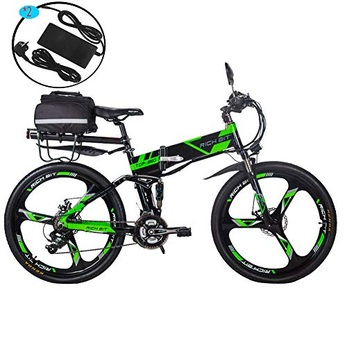 RICH BIT Elektrofahrräder 36V 12.8A Li-Batterie Faltrad MTB Mountainbike E Bike 26 Zoll Shimano 21 Speed Fahrrad intelligente Elektrofahrrad RT860 (Grün)