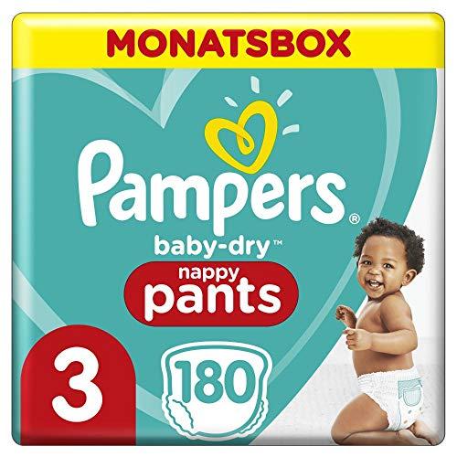Pampers Größe 3 Baby Dry Baby Windeln, 180 Stück, MONATSBOX, Für Atmungsaktive Trockenheit (6-11kg)