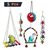 UEWB WHYSP 5-Piece Bird Parrot Toy Set, Hanging Bell Pet Hammock Swing Perch Hammock Chew Toy, Suitable for Small Parrots, Parrots, Cocktails, Parrots, Lovebirds