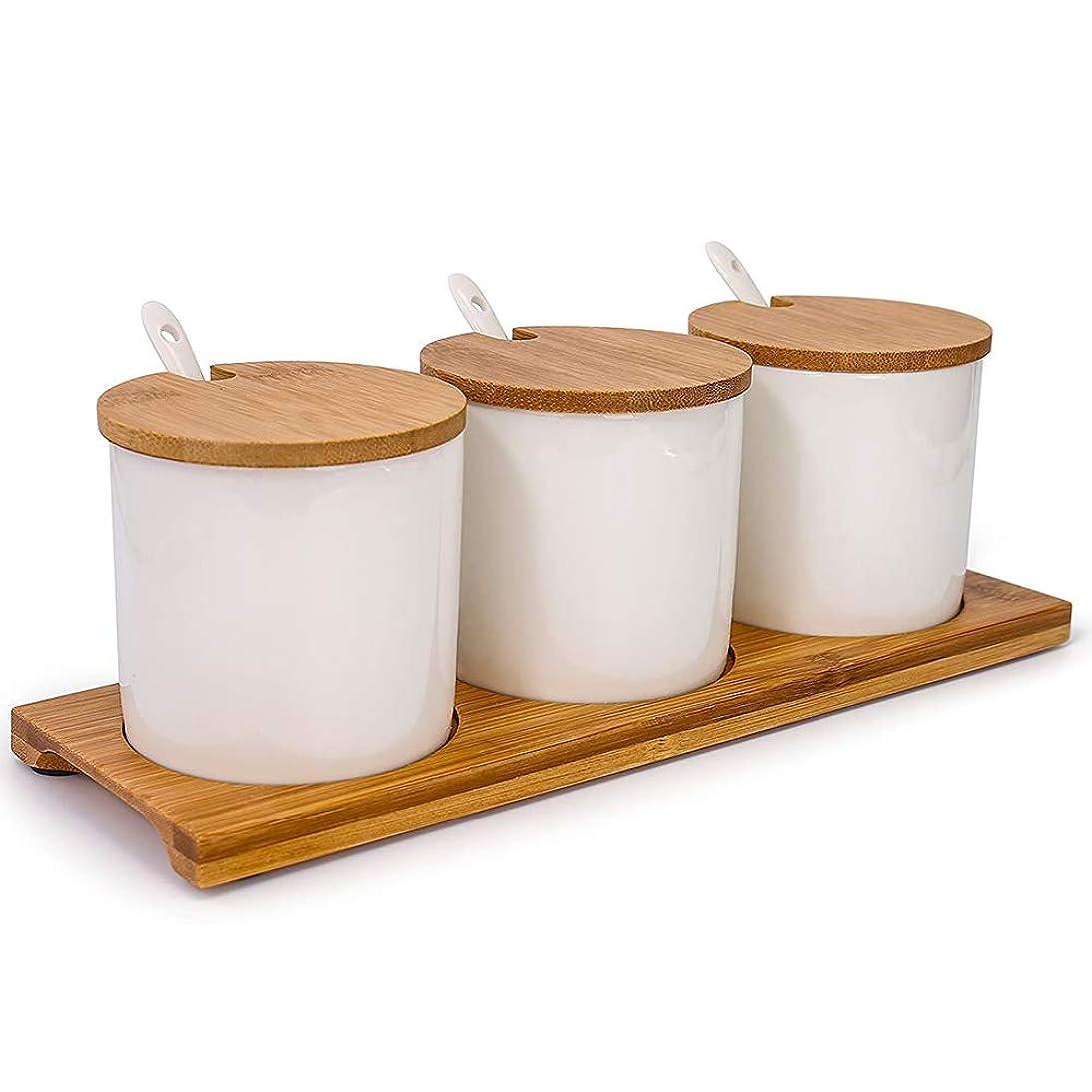 補足おもてなし祈るセラミックスプーン木製トレイ家庭のキッチン用品と竹や木材調味料の瓶250mlのセラミック、ソルトシェーカー