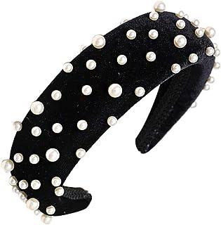 Bodhi2000 - Fascia per capelli da donna, stile vintage, intrecciata, con perle artificiali