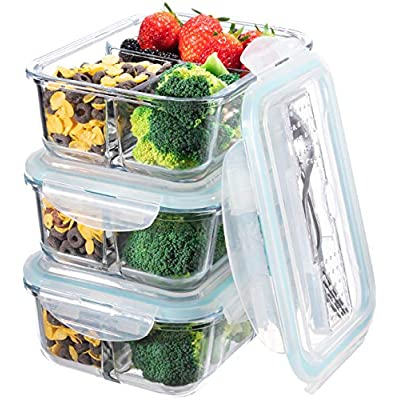 3 compartment glass containers