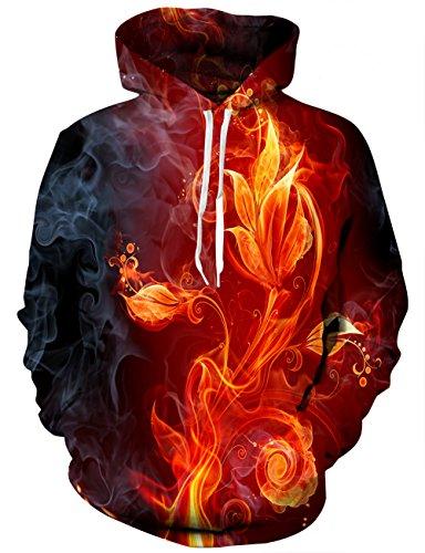 YAJOOEY Unisex Realistic 3D Digital Print Pullover Hoodie Hooded Sweatshirt X-Large