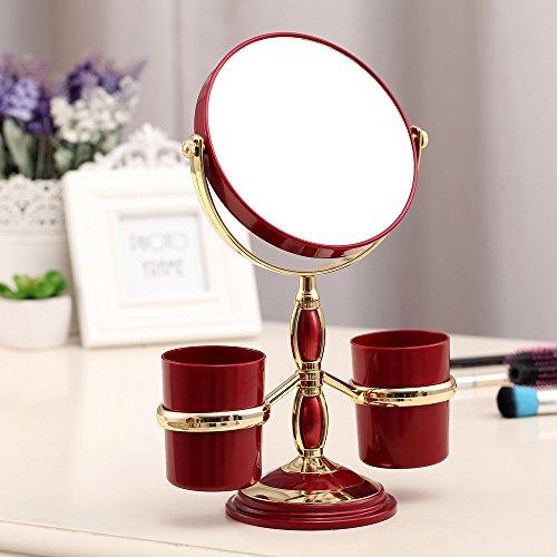 ToiM Style Européen Miroir de Maquillage avec Rangement Cannikins, Portable, Double Face Miroir de Coiffeuse, 3 Fois Grossissement Bordeaux
