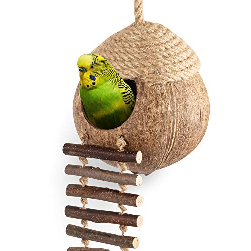 andwe Coconut Bird Nest Hut with Ladder for Parrots Parakeet Conures Cockatiel - Small Animals House Pet Cage Habitats Decor