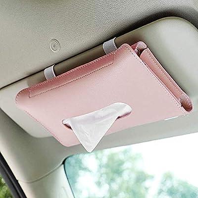 Aromandina Car Tissue Holder, Sun Visor Napkin Holder Backseat Tissue Case, Pink Leather Tissue Box Holder for Car & Truck Decoration