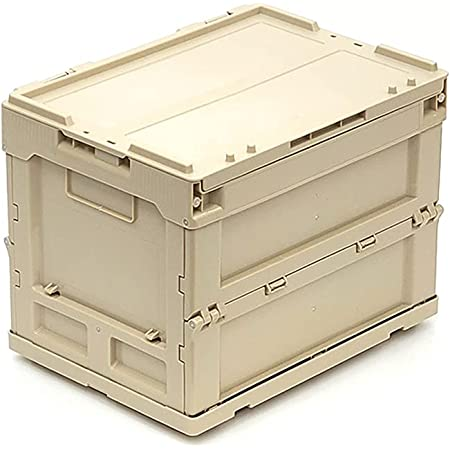 コンテナボックス 蓋付き 20l 折りたたみアウトドア コンテナ オリコン 防災ボックス 工具入れ 折り畳み ベージュ ブラック グリーン (サンドベージュ)