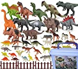 46 Pack Mini Dinosaur Figure Toys, Plastic Dinosaur Toy Set for Kids Toddler Birthday Christmas Easter Valentines Day Gifts, Including T-rex, Stegosaurus, Monoclonius, etc( Drop-in Boxes, Set Pieces)