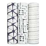 aden + anais Silky Soft Swaddle Blanket,100% Bamboo Viscose Muslin Blankets for Girls & Boys, Baby Receiving Swaddles, Ideal Newborn & Infant Swaddling Set, 3 Pack, Pebble Shibori