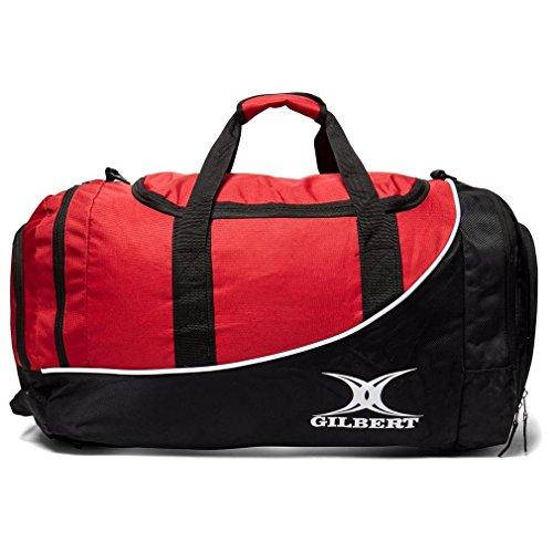 Gilbert Rugby Club Sporttasche Senior Spieler Reistasche Großes Fach schwarz schwarz/rot 35 x 62 x 30 cm