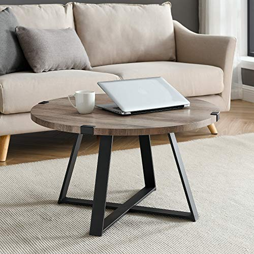 WE Furniture Rustic Farmhouse Round Metal Coffee Accent Table Living Room, 30 Inch, Grey, Black