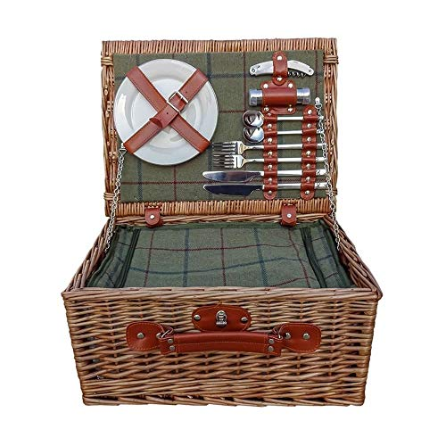Red Hamper Wicker Willow Badminton 2 Person Green Tweed Fitted Wicker Picnic Basket