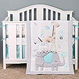 Brandream Safari Bedding Sets for Boys | 3 Piece Nursery Set | Crib Comforter, Fitted Crib Sheet, Crib Skirt Included Elephant Zebra Giraffe, Gray