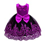 Newborn Flower Girls First Communion Dress Christening Baptism Toddler Baby Lace Tulle Princess Open Back Dress Wedding Party Pageant Birthday Bow Formal Backless Evening Gown Purple + Black 3-4T