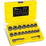 """TOPEC 18-Piece Impact Bolt & Nut Remover Set, 3/8"""" Drive Bolt Extractor Tool Set, Torque Extraction Socket Set for Removing Stripped, Damaged, Rounded Off and Rusted Bolts & Nuts"""