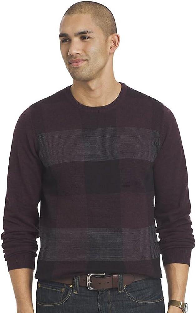 Van Heusen Men's Big & Tall Fine Gauge Plaid Crewneck Sweater