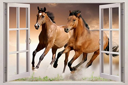 HORSES 3D Window View Decal WALL STICKER Home Decor Art Mural Animals, Giant C050