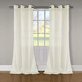 Duck River Textiles - Aurora Crushed Taffeta Grommet Top Window Curtains for Living Room & Bedroom - Assorted Colors - (52 X 84 Inch - Lime Green)