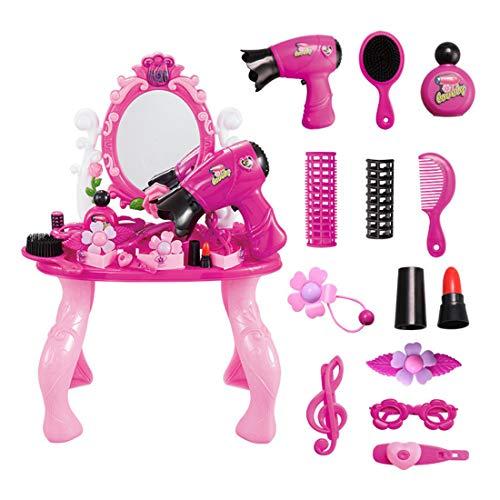 Matuke Frisierkoffer Spielzeug, 12er Set Frisierkoffer mit Haartrockner Kinder Schminkkoffer Mädchen Prinzessin Schminkset Beauty Set für Mädchen