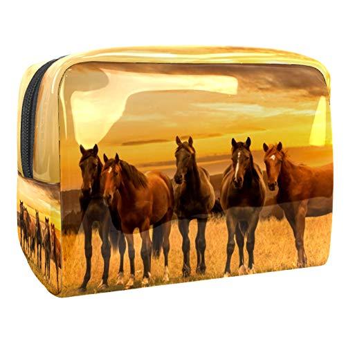 Makeup Bag Brown Horse At Dusk Travel Makeup Bag Cosmetic Cases Organizer Portable Storage Bag Toiletry Bag 18.5x7.5x13cm