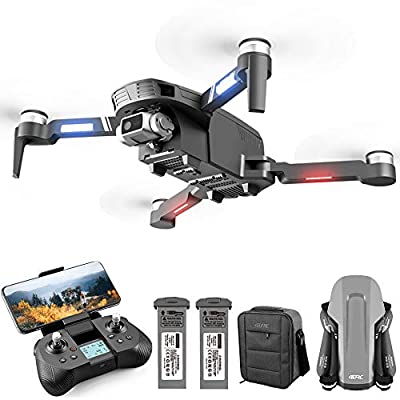 4DRC F4 GPS 4K Drone with Camera for Adults, 2-Axis gimbal Anti-shake Camera HD FPV Live Video,Brushless Motor RC Quadcopter, Auto Return,Follow Me,Waypoint Fly,Headless Mode,Carrying Case
