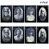 YBB 4 Pack Halloween 3D Changing Face Moving Picture Frame, Horror Portrait Scary Decoration for Home Halloween Party, Castle, Haunted House Decor