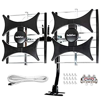 Newest 2021 Five Star Multi-Directional 4V HDTV Antenna - up to 200 Mile Range UHF/VHF Indoor Attic Outdoor 4K Ready 1080P FM Radio Supports 4 TVs Plus Installation Kit and Mounting Pole