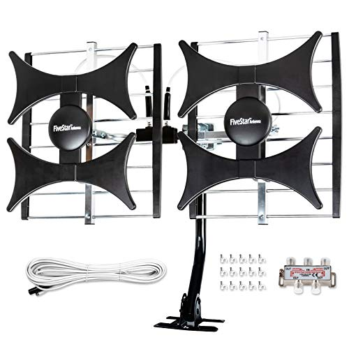 Newest 2021 Five Star Multi-Directional 4V HDTV Antenna - up to 200 Mile Range, UHF/VHF, Indoor, Attic, Outdoor, 4K Ready 1080P FM Radio, Supports 4 TVs Plus Installation Kit and Mounting Pole