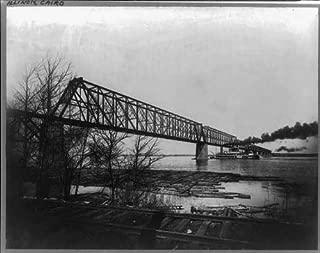HistoricalFindings Photo: Stern-Wheel Riverboat,Illinois Central Railroad Bridge,Ohio River,Cairo,IL,c1909