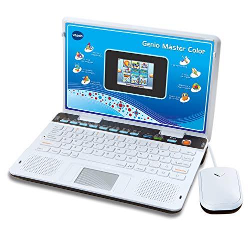 VTech Genio Máster Bilingüe, Ordenador portátil para niños, pantalla, enseña vocabulario, matemáticas, ciencias a través de 180 actividades en español e inglés, color azul (80-133847), (3480-133847)