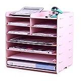Unbekannt Schreibtisch-Ablagekorb Aktenbox Datenrahmen Desktop Holz Aktenhalter Student Bücherständer Schreibtisch Büro Aufbewahrungsbox Zeitschriftenregal Rose