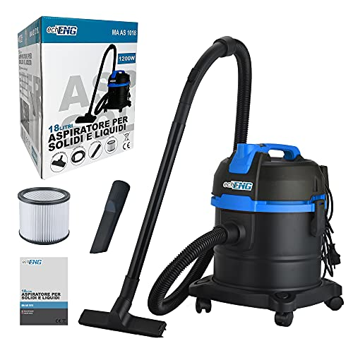 Aspirador profesional aspirador industrial aspira sólidos-líquidos polvo-ceniza de 1200 W, compartimento de recogida de 18 l, filtro y bolsa – echoeng – MA AS 1018