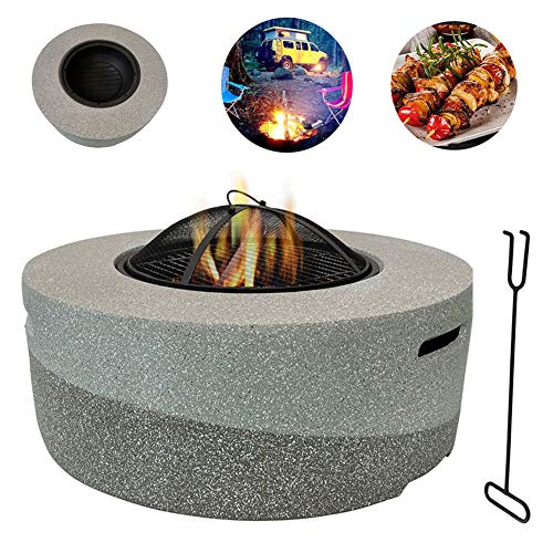 Fantastic Prices! WSCQ Fire Bowls for Garden, Fire Pit with BBQ Grill Shelf with Magnesium Oxide Bas...