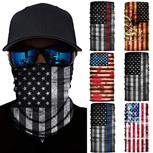 6 Pcs Bandana Face Mask Neck Gaiter, Scarf Headbands Balaclava Headwear Tube Windproof Seamless Face Cover for Women Men