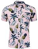 Loveternal Funky Camisa Casual Botón Abajo Camisa Hawaiana Camisas Verano Hombre Algodón de Manga Corta 3D Camisa Piña Rosa XL
