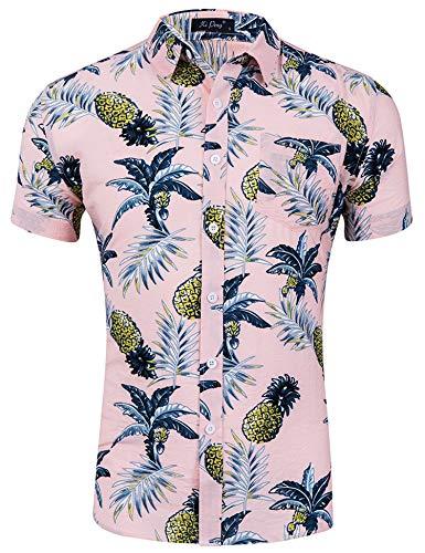 Loveternal Camisa Piña Hombre Camiseta Estampada Hawaiana Vacaciones