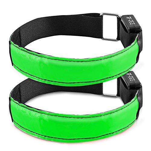kwmobile 2X Pulsera Reflectante LED - Brazalete Reflectante XL para Correr Trotar Hacer Ciclismo etc - Cintas con Luces en Verde