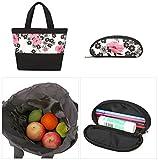 YoungSoul Schultaschen-Sets für Mädchen Jugendliche Canvas Schulrucksack + Lunch-Taschen + Federmäppchen mit Blumenmuster 14 - 6