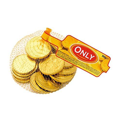 Fein schmelzende Euro Schokolade Goldmünzen, im 100g Netz von Only