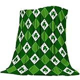 Bernice Winifred - Manta de franela para cama, diseño de tréboles de la suerte, color verde y blanco
