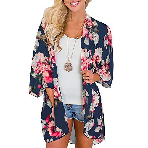 YONHEE - Cárdigan kimono floral para mujer, chal suelto, estilo bohemio, casual, para verano, para mujer Azul azul marino M