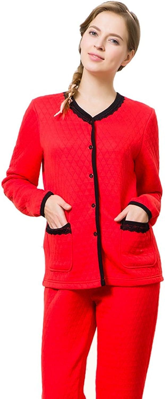 Insun Women's Sleepwear V Neck Lace Winter Cotton Fleece Pajamas