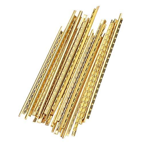 Alambre para trastes de guitarra -19 piezas 2 mm Color dorado Trastes de latón Alambre Fretwires Reparación de piezas de repuesto para guitarras de madera tradicionales y clásicas Piezas de re