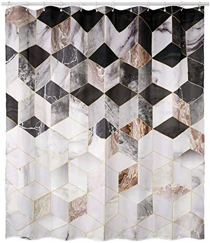 HomeyMosaic Duschvorhang Duschvorhänge Anti-Schimmel, Wasserdicht, Textil-Vorhang Waschbar Badvorhang Polyester Stoff mit 12 Duschvorhangringen Geometriemuster, 180x180cm