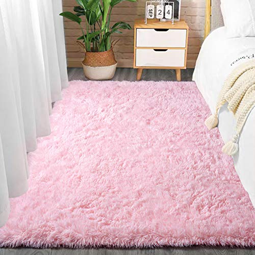 Comeet Soft Living room Area Rugs for Bedroom Fluffy Rugs for Kids Room, Floor Modern Indoor Shaggy Plush Carpets, Home Decor Fuzzy Comfy Nursery Baby Boys Abstract Accent, Baby Pink Shag rug 3x5 Feet