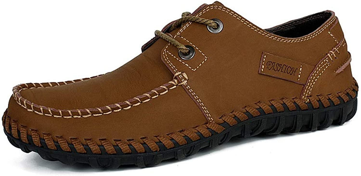 Low to Help Comfortable Handmade shoes Leather Men's Casual shoes Wear shoes (color   Khaki, Size   43)