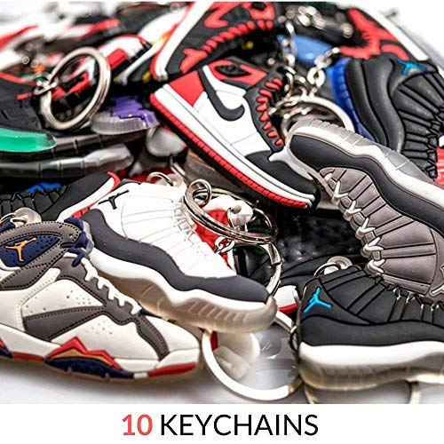 Nsi Industries mini sneaker Keychains–rare Air Packs–Gomma/silicone 2D retro sneakers scarpa da basket portachiavi–perfetto Sneakerhead idea regalo, Retro Air, Small