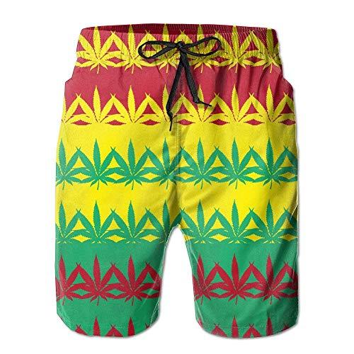 tyui7 Hanf Unkraut Bunte Herren Sommer Quick Dry Badehose Cargo Pants Beach Shorts,Größe XXL