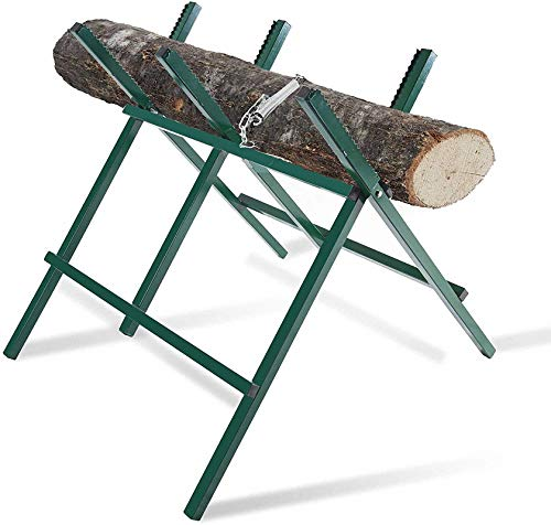 Log Saw Horse Foldable Sawhorse - ANDGOAL Cutting Logs Heavy Duty Sawhorse for Logs With Notched Sawtooth Chainsaw Horse Adjustable Steel Sawhorse Affordable Weight 150 Lbs Green